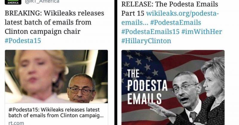 კლინტონის იმეილების მე-16 ნაწილის შესახებ ინფორმაცია RT-მ Wikileaks-ზე ადრე გაავრცელა
