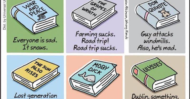 ლიტერატურის შედევრებზე შექმნილი სასაცილო და მინიმალისტური სპოილერები