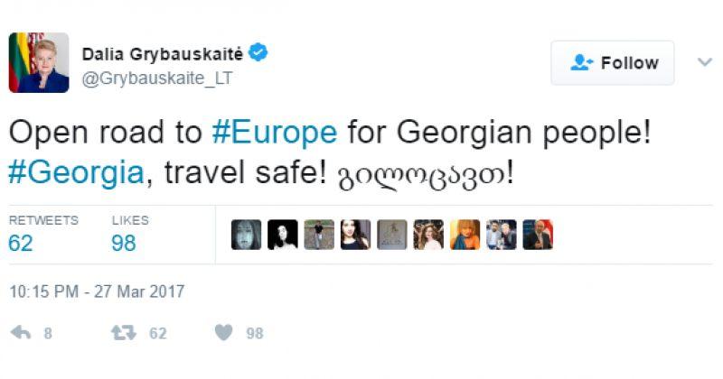 გრიბაუსკაიტე: ქართველი ხალხისთვის ევროპისკენ გზა გაიხსნა, გილოცავთ