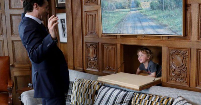 კანადის პრემიერმინისტრის - ჯასტინ ტრუდოს ფოტოსესია შვილთან ერთად