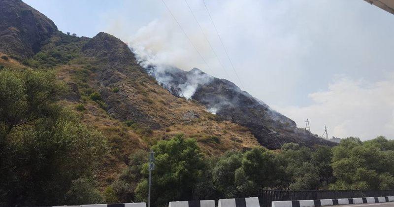 ხანძარი ახალციხეში - ცეცხლი მთის ფერდობს უკიდია
