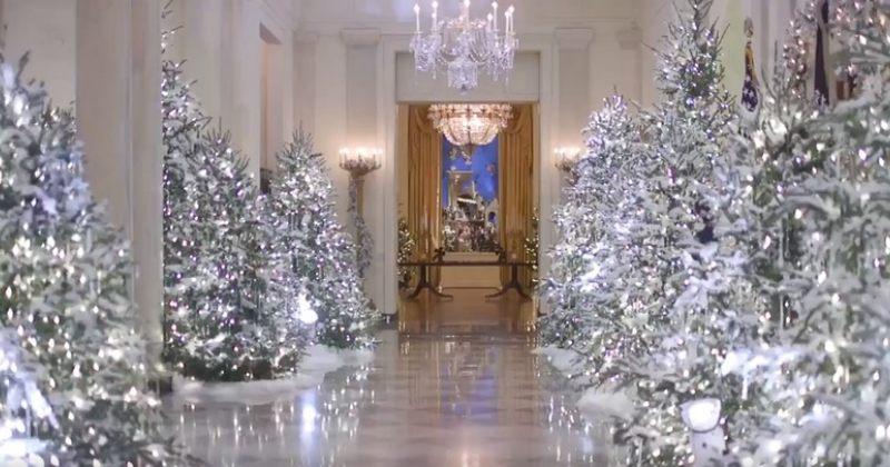 მელანია ტრამპმა თეთრი სახლი საახალწლოდ მორთო [VIDEO]