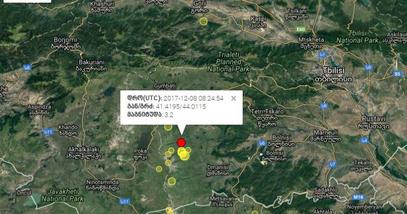 საქართველოში 3.2 მაგნიტუდის მიწისძვრა მოხდა