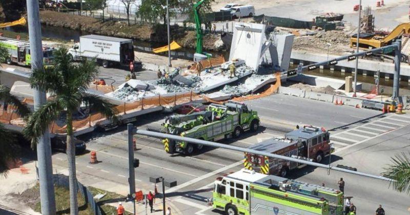 ფლორიდაში 6 საათში აგებული ხიდი ჩამოინგრა, გარდაიცვალა 4 ადამიანი, დაშავდა - 10
