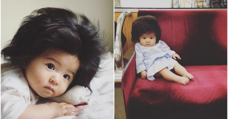 ფოტოები: 6 თვის გოგონა უჩვეულოდ ხშირი თმით