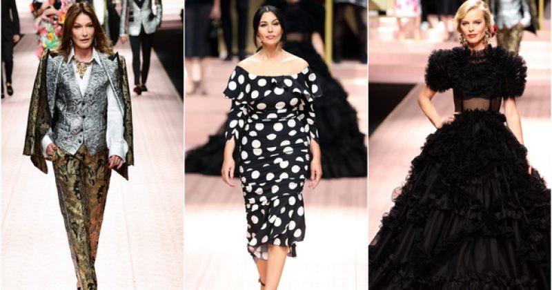 ფოტოები: მონიკა ბელუჩი, კარლა ბრუნი და იზაბელა როსელინი Dolce & Gabbana-ს ჩვენებაზე