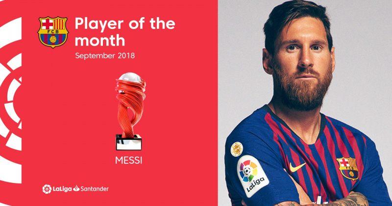 ესპანეთის ლა ლიგის სექტემბრის საუკეთესო ფეხბურთელი ლიონელ მესი გახდა