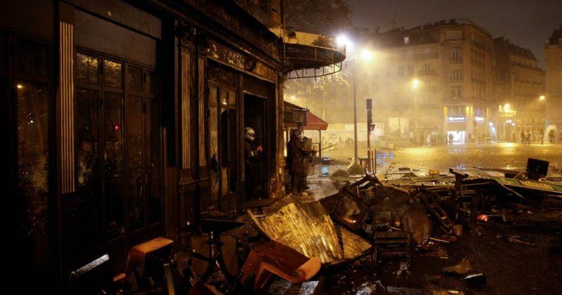 პარიზში საპროტესტო აქციებზე 100-ზე მეტი ადამიანი დაშავდა, 378 დააკავეს [ფოტოები]