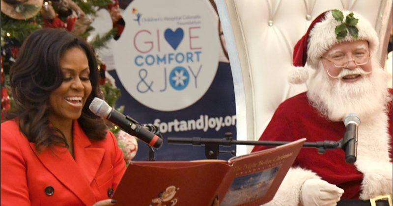 მიშელ ობამა ბავშვთა საავადმყოფოს მოულოდნელად ესტუმრა და სანტასთან ერთად იცეკვა [VIDEO]