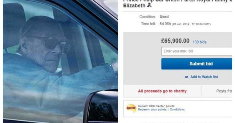 ბრიტანეთის პრინცის ფილიპეს მანქანის ნაწილები, რომლებიც ავარიას გადაურჩა, EBAY-ზე იყიდება