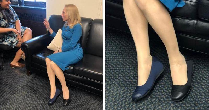 ამერიკელმა კონგრესმენმა ოფისში მთელი დღე სხვადასხვა ფერის ფეხსაცმელებში გაატარა