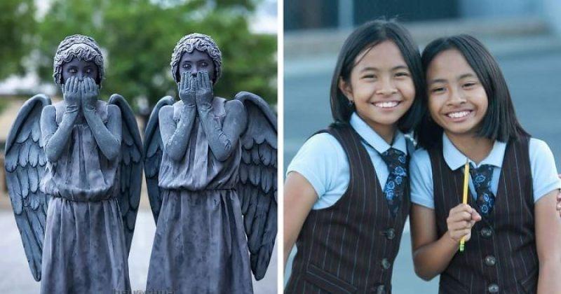 11 წლის ტყუპი გოგოები, რომლებიც თავიანთი კოსტუმებით ხალხს აკვირვებენ