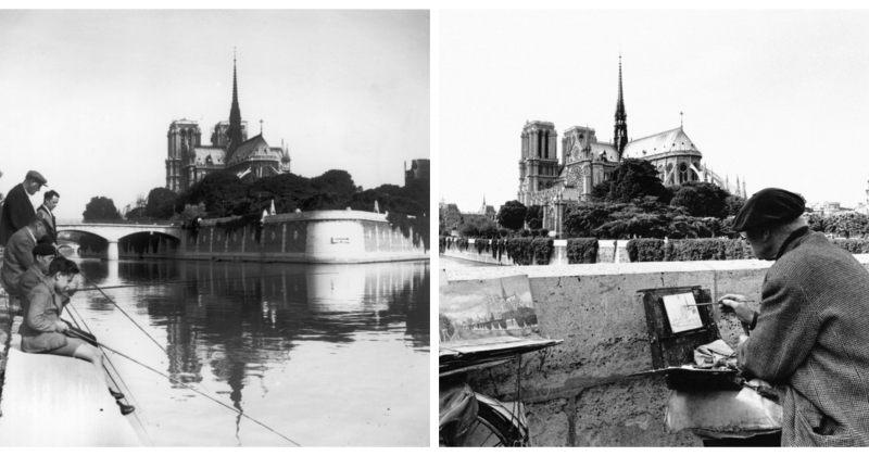 პარიზის ღვთისმშობლის ტაძარი ვინტაჟური ფოტოების ფონზე - გალერეა