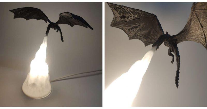 არტისტის მიერ შექმნილი სანათები Drogon-ის გამოსახულებით