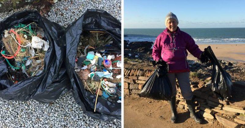 70 წლის ქალმა, დაბინძურებაზე ფილმის ნახვის შემდეგ 52 სანაპირო დაასუფთავა
