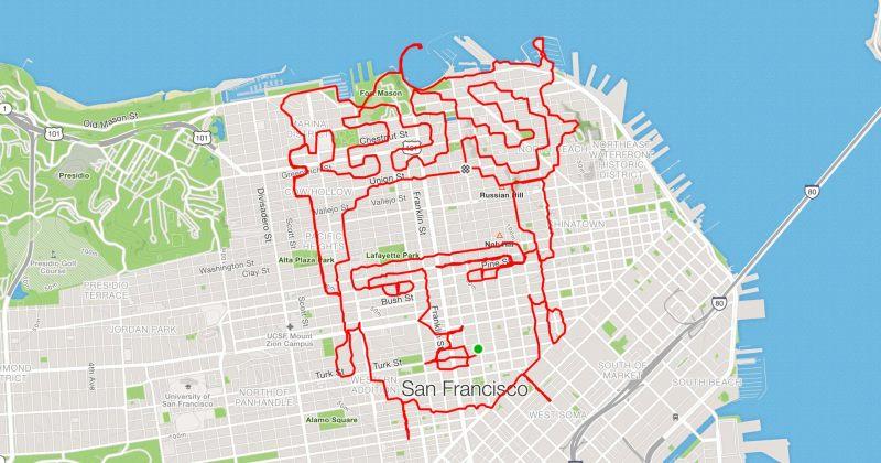 მორბენალი, რომელიც რუკებზე გარბენილი მანძილით ნახატებს ქმნის