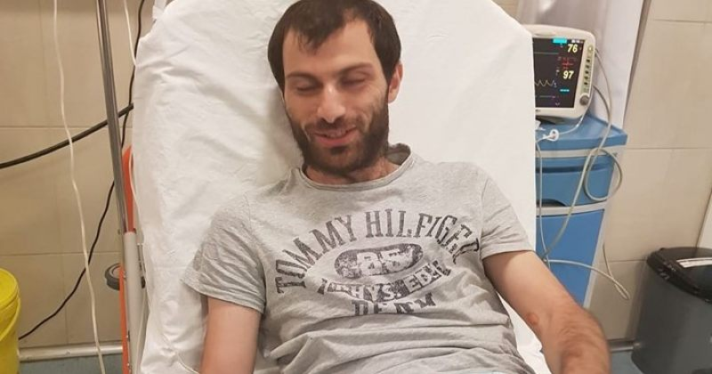 ფოტო: ბექა ბასილაია საავადმყოფოში 19-დღიანი შიმშილობის შემდეგ