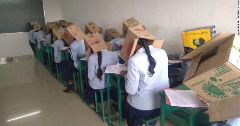 ინდოეთში გამოცდაზე სტუდენტებს თავზე მუყაოს ყუთები დააფარეს, რათა არ გადაეწერათ