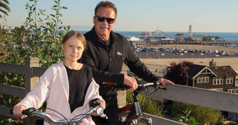 არნოლდ შვარცენეგერმა და გრეტა ტუნბერგმა ველოსიპედებით გაისეირნეს