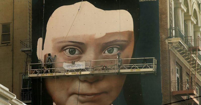 სან-ფრანცისკოში კედელზე 16 წლის გრეტა თუნბერგის უზარმაზარი პორტრეტი დახატეს