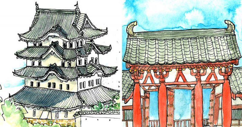 არქიტექტორმა იაპონიაში მოგზაურობის აღსაწერად სკეტჩები დახატა
