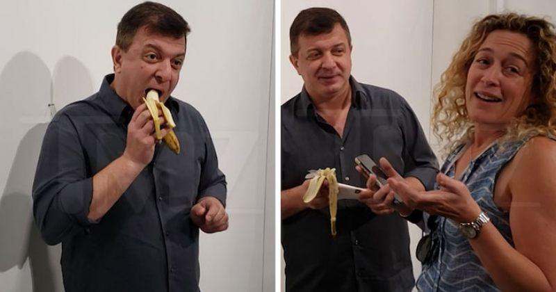 """120 ათას დოლარად შეფასებული """"კედელზე მიწებებული ბანანი"""" ქართველმა შეჭამა (Video)"""