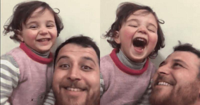 სირიელი მამა 3 წლის შვილს დაბომბვის შიშს სიცილით აძლევინებს - ვიდეო