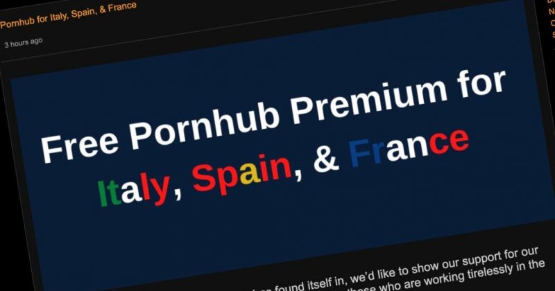 იტალიასა და საფრანგეთის შემდეგ, Pornhub-ზე პრემიუმ ვიდეოები ესპანეთშიც უფასო გახდა