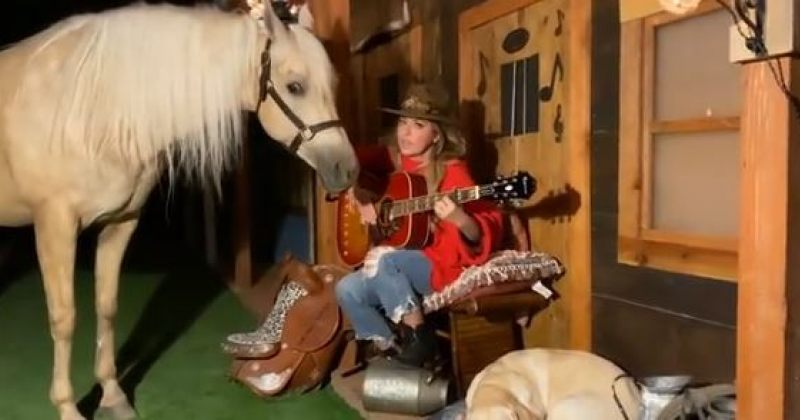 შანია ტუეინმა ორი სიმღერა ცხენის თანდასწრებით შეასრულა