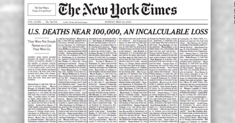 NEW YORK TIMES-მა გარეკანზე COVID-19-ით გარდაცვლილთა სახელები და გვარები დაიტანა