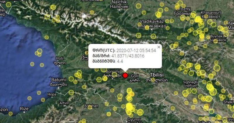 საქართველოში 4.4 მაგნიტუდის მიწისძვრა მოხდა