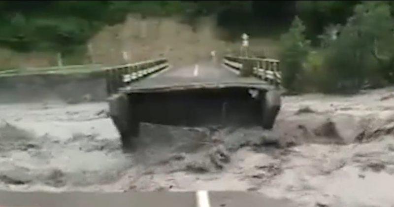 რაჭაში ძლიერი წვიმის შედეგად მდინარე ლათქიშორა ადიდდა - დაზიანდა გზები, ჩაინგრა ხიდები