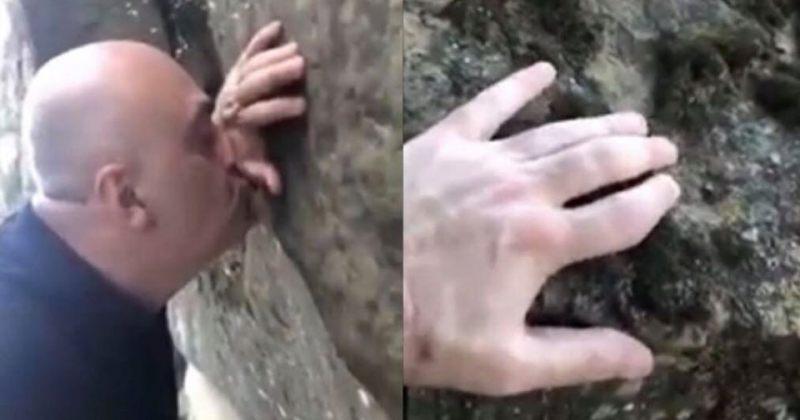 """""""ამ ქვებს უნდა მოვეფეროთ"""" - სანდრო ბრეგაძე დავით გარეჯში ქვებს კოცნის (ვიდეო)"""