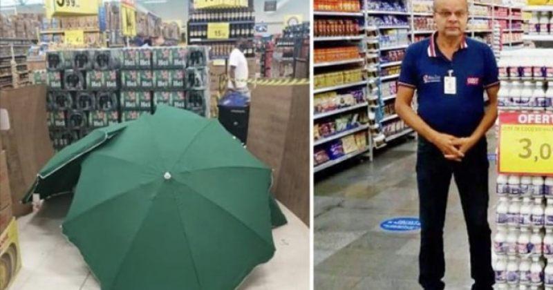 ბრაზილიის კარფურში გარდაცვლილ თანამშრომელს ქოლგები დააფარეს, მაღაზია კი არ დახურეს