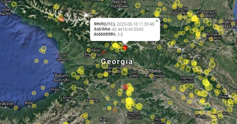 საქართველოში 3.8 მაგნიტუდის მიწისძვრა მოხდა