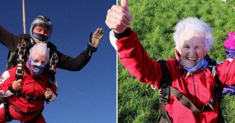 ბრიტანელი ქალი 90-ე დაბადების დღის აღსანიშნად პარაშუტით გადმოხტა