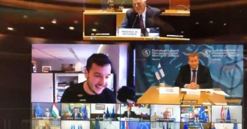 ჟურნალისტი ევროკავშირის თავდაცვის მინისტრების დახურულ ვიდეოკონფერენციაზე მოხვდა [VIDEO]