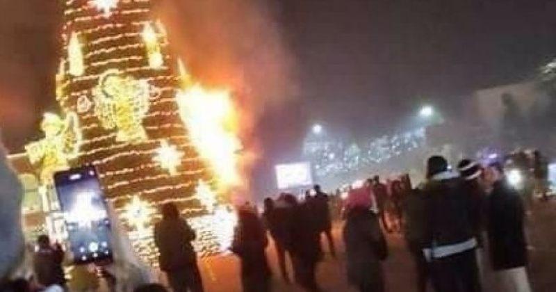 გორში მთავარ ნაძვის ხეს ცეცხლი გაუჩნდა