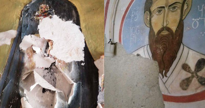 საპატრიარქო: ჭყონდიდში ილია II-ის ფრესკა ნესტმა დააზიანა, ვანდალიზმი არ ყოფილა