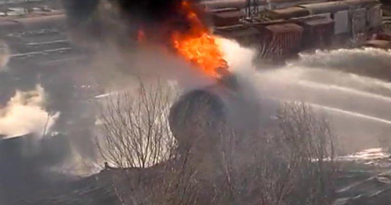 სამგორში მატარებლის ვაგონს ცეცხლი გაუჩნდა