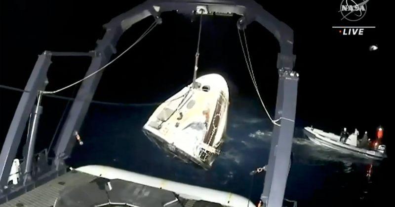 SpaceX-ის პირველი რეგულარული კოსმოსური მისიის ასტრონავტები დედამიწაზე დაბრუნდნენ [VIDEO]